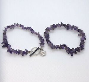 2 Amethyst Chips Stretch Bracelets Silver Tone Tree Of Life Charm Toggle Clasp