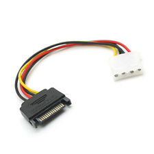 "6"" Inch 4-pin Molex Female  to 15-pin SATA Male Power Cable Adapter Connector"