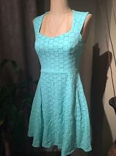 NWT Forever 21 Mint Green Circle Eyelet Embroider Sweetheart Skater Dress Small