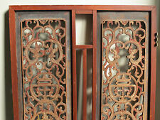Antique Chinese Carved Wood Window Ornament Panel Architectural Fragment -32x28""