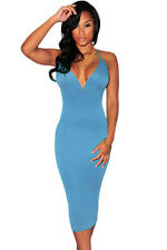 Sexy Azure Plunging V Neck Halter Lace-Up Midi Party Club Dress