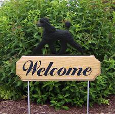Poodle Dog Breed Oak Wood Welcome Outdoor Yard Sign Black