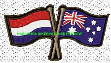 AUSTRALIA DUTCH CROSSED FLAGS BIKER PATCH 100 X 55MM