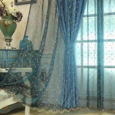 Long Lace Embroidery Floral Curtains Panel Net Tulle Home Drape Sheer Scarf Chic