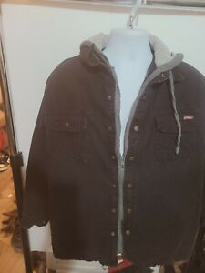 genuine dickies full zip button up lined hooded black denim jacket size l