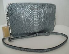 NWT MICHAEL KORS Large E/W Crossbody Bag in Pale Blue Snake Embossed Leather