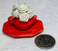 Ceramic Red Teapot & Base Plate with White Roses Centerpiece 1:12 Scale