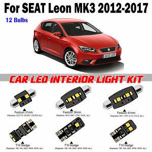 12 Bulbs Deluxe Xenon White LED Interior Light Kit For Seat Leon MK3 2012-2017