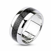 Herrenring Damenring Carbon Inlay Schwarz Dome Silber poliert Edelstahl Ring