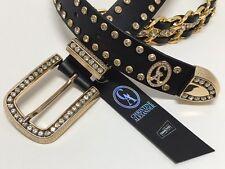 Christine Alexander Black Chain Belt~Genuine Leather~Swarovski Crystals