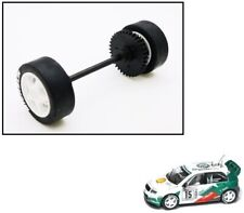 NEW Scalextric W9019 Rear Wheels Tyres Axle & Gear For Skoda Fabia WRC Rally Car
