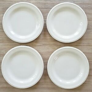 """Lot of 4 Pottery Barn 11"""" Dinner Plates Emma White Beaded Made in Portugal"""