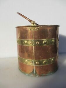 Victorian Copper Coal Bucket Bin Scuttle Planter Tub Plant Pot Antique Log Old
