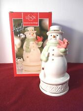 LENOX WONDERLAND WISHES MUSICAL SNOWMAN SCULPTURE -NIB