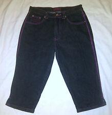CREST JEANS USA Womens Black Capris w/ Pink Stitching Size 11/12