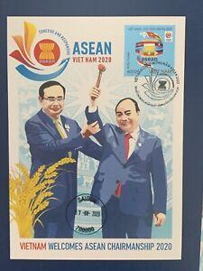 Vietnam 2020 ASEAN Chairmanship Leading nCoV Fight Stamp Mint Maxicard HCM FDC