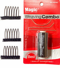 (COMBO DEAL)3PCS Spring Wig Clip Comb Sew in Clips Combs w/ I J C Needle Thread