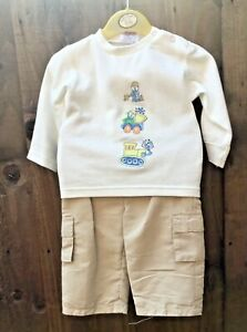 NEW Two Piece Baby Boys Outfit Top & Chino Style Trousers Age 9-12 Months T1
