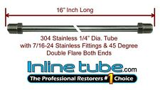 """1/4"""" Brake Line 16 INCH STAINLESS STEEL 7/16-24 Tube Nuts 45 Degree Double Flare"""