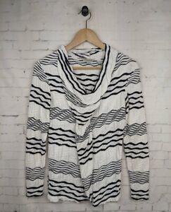 VERONIKA MAINE Black White Size XS Striped Sweater Top Long Sleeve Cowl Neck