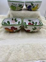 "Set of 4 Tabletops Unlimited Sorbet Fruit/Flowers 5 1/2"" Individual Salad Bowls"