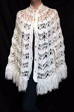 Vtg 60s 70s White Hand Knit Crochet Fringed Poncho Cape Coat Sweater Wrap Shawl