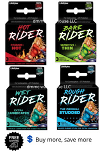 Lifestyles Rider Male Condoms Rough, Hot, Bare, Wet Lubricated Latex 3 Pack
