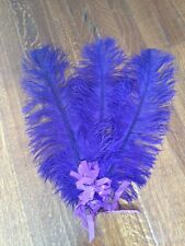 Authentic Victorian Deep Purple Ostrich Feather Fan Costume Theatre Burlesque