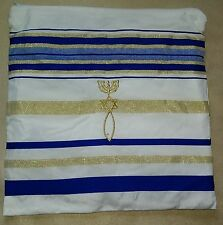 "Blue & Gold Messianic Prayer Shawl Tallit Talis Hebrew English New 22"" X 72"""