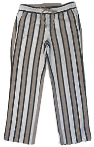 Ann Taylor Women's Linen Blend Striped Pull On Elastic Waisted Pants Sz XS NWT