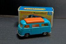 """Matchbox Superfast #23 Blue Volkswagen Camper in original """"G"""" Type Box"""