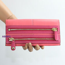NEW Coach Bonnie Double Zip Slim Leather Wallet 42541 Coral Fuchsia Pink RARE