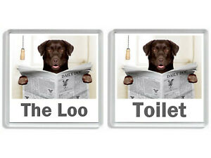 CHOCOLATE LABRADOR READING A NEWSPAPER ON THE LOO Novelty Toilet Door Signs