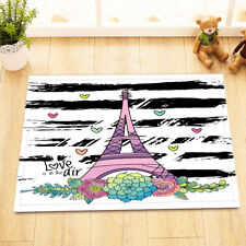 Kitchen Bathroom Bath Door Mat Bathmat Black & White Striped Love Eiffel Tower