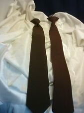 2 WOLFMARK NECKWEAR CLIP ON TIES NEW  BROWN  NICE !