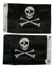 12x18 Pirate Jolly Roger Eye Patch 2 Faced 2-ply Wind Resistant Flag 12x18 Inch