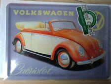 PLAQUE METAL 15*10 CM - COCCINELLE VW CABRIOLET - NEUF NOSTALGIC ART