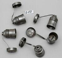 5x alte Fassung E 27 Eisen roh Porzellan Lampenfassung Lampenteile # 1-07