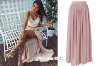 CelebStyle Mesh Double-Layered Chiffon Full Length Maxi Skirt