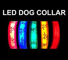 Flashing or Static LED Safety Adjustable Nylon Novelty Dog Puppy Pet Collar