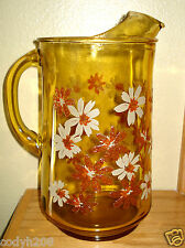 """VINTAGE~AMBER GLASS """"Pitcher w/Painted Embossed Daiseys """" 10 1/2"""" tall Perfect"""