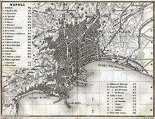 Pianta di Napoli. Carta Topografica. Artaria. Stampa Antica + Passepartout. 1871