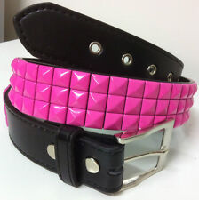 LEATHER STUDDED BELT * Pink  3 Row ALL SIZES Small,Medium,Large and XLarge bling
