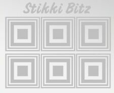 6 x Silver Etched Etch Square House Window Mirror Shower Cubicle Stickers