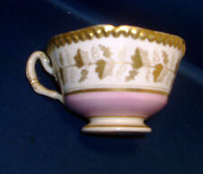 Antique Worcester Flight Barr Porcelain Coffee Tea Cup Pink Gold Grapevine Gilt