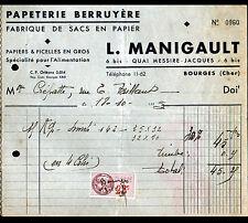 """BOURGES (18) USINE de SACS en PAPIER / PAPETERIE BERRUYERE """"L MANIGAULT"""" en 1945"""