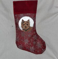 Norwich Terrier Dog Hand Painted Christmas Stocking Decoration