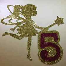 Flower Fairy Girl Birthday Cake Topper with any number, in many glitter colours
