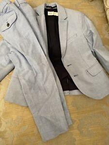 h&m Powder Blue Boys Linen Look Cotton Suit Age 3-4
