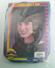 Hollywood Illusion Black/Burgandy Tinsel Party Wig Halloween Costume Vintage